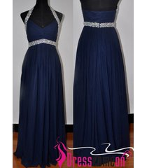 cheap royal blue long prom evening dress,dark royal blue halter dresses re242