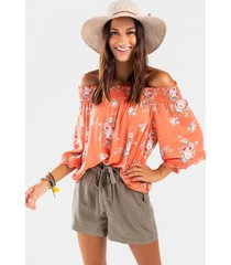 ana floral off the shoulder top - coral