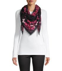 alexander mcqueen women's butterfly skull scarf - black pink