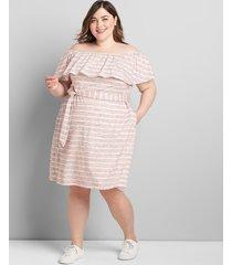 lane bryant women's striped multi-way off-the-shoulder short dress 38/40 gray/red