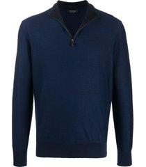 ermenegildo zegna waffle knit zip sweatshirt - blue