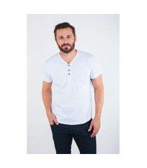 camiseta 4as manga curta gola v logo comfort masculina