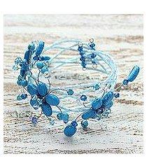 beaded wrap bracelet, 'wreath of blue' (thailand)