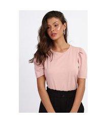 camiseta feminina básica manga bufante decote redondo rosa