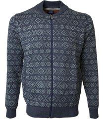 sweater full zipper azul piedra jayson