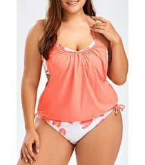 rainbow tie dye leaf plus size halter tankini swimsuits