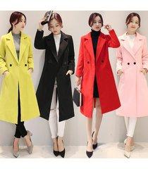 women fashion sexy wool cotton coat jacket korea style trenchcoat autumn winter