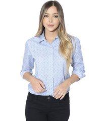 camisa estampada sophia para mujer - azul