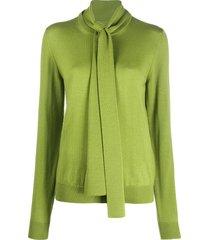 maison margiela front tie wool jumper - green