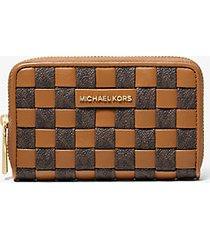 mk portafoglio piccolo in tessuto con logo - marrone - michael kors