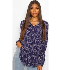 tall blouse met abstract gezicht, navy