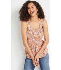 maurices womens multi floral smocked babydoll tank top