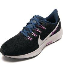 tenis running negro-violeta-azul nike aiz zoom pagasus 36