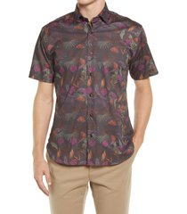 jeff winey roads floral short sleeve stretch button-up shirt, size xx-large at nordstrom