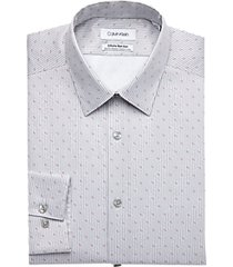 calvin klein gray patterned stripe slim fit dress shirt