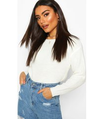 slash neck crop fisherman sweater, ivory