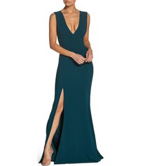 women's dress the population sandra plunge crepe trumpet gown, size x-small - green
