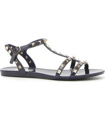 women's valentino garavani rockstud t-strap sandal, size 9us - black