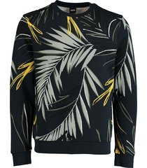 hugo boss pullover weleaf print donkerbl 50426146/404