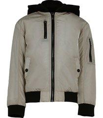river island age 13+ beige hooded utility bomber jacket