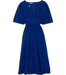 tucked waist v-neck dress in cobalt