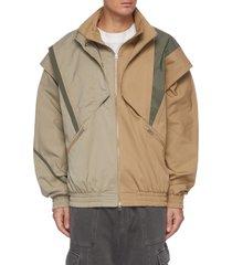 overlapped shoulder panel elastic hem jacket