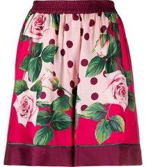 dolce & gabbana rose-print shorts - pink