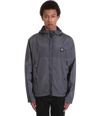 stone island casual jacket in grey polyamide
