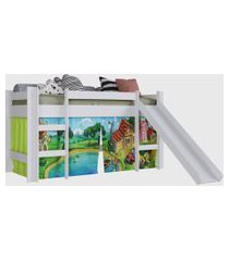 cama elevada c/ escorregador branco c/ cortina estampada fazenda completa moveis