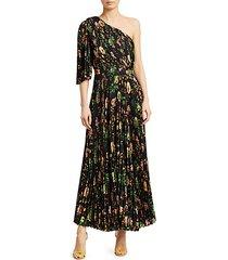 floral pleated one-shoulder jumpsuit