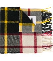 jil sander checked logo-patch scarf - black