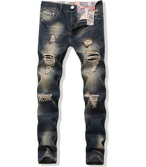 faded wash long straight ripped denim pants