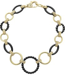 women's lagos gold & black caviar circle link bracelet