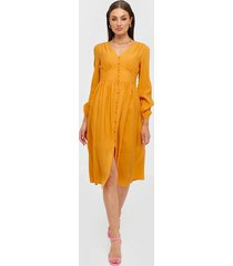 glamorous long sleeve v neck button dress loose fit