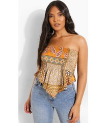 plus geplooide strapless bandana top met patches, multi