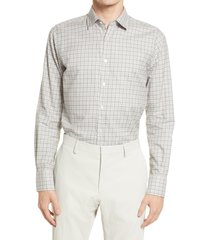 canali plaid button-up shirt, size small in light grey at nordstrom