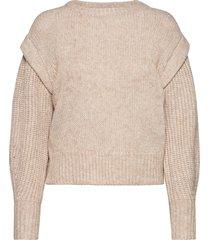 vicatina panel l/s knit top/camp stickad tröja brun vila