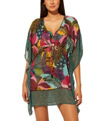 bleu by rod beattie printed chiffon caftan women's swimsuit
