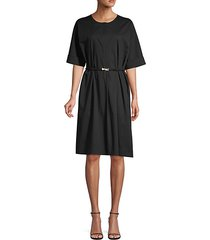 belted button-front dress