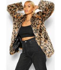 luxe faux fur luipaardprint jas, naturel