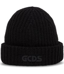 gcds giuly black hat in wool blend with logo