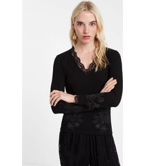 ribbed floral t-shirt with lace - black - xl