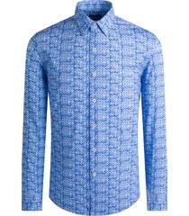 men's bugatchi ooohcotton regular fit tech knit button-up shirt, size xx-large - blue