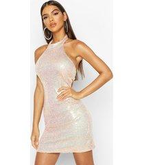 halter neck sequin bodycon mini dress, gold