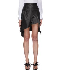 deconstructed ruffle hem leather mini skirt