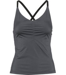 gathered strap top t-shirts & tops sleeveless grå filippa k soft sport