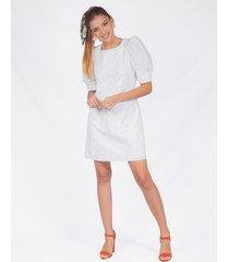 vestido adrissa blanco talego efecto ojalillo con volumen en mangas y realce de hombros
