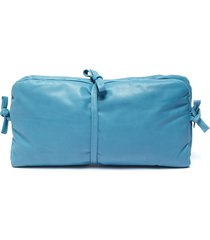 'maud' tie padded leather clutch
