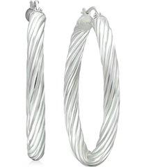"giani bernini medium twisted tube hoop earrings in sterling silver, 1.57"", created for macy's"