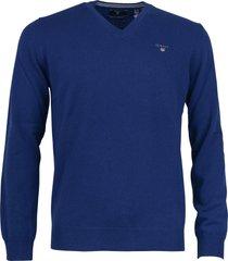 gant pullover lamswol kobaltblauw 86212/436